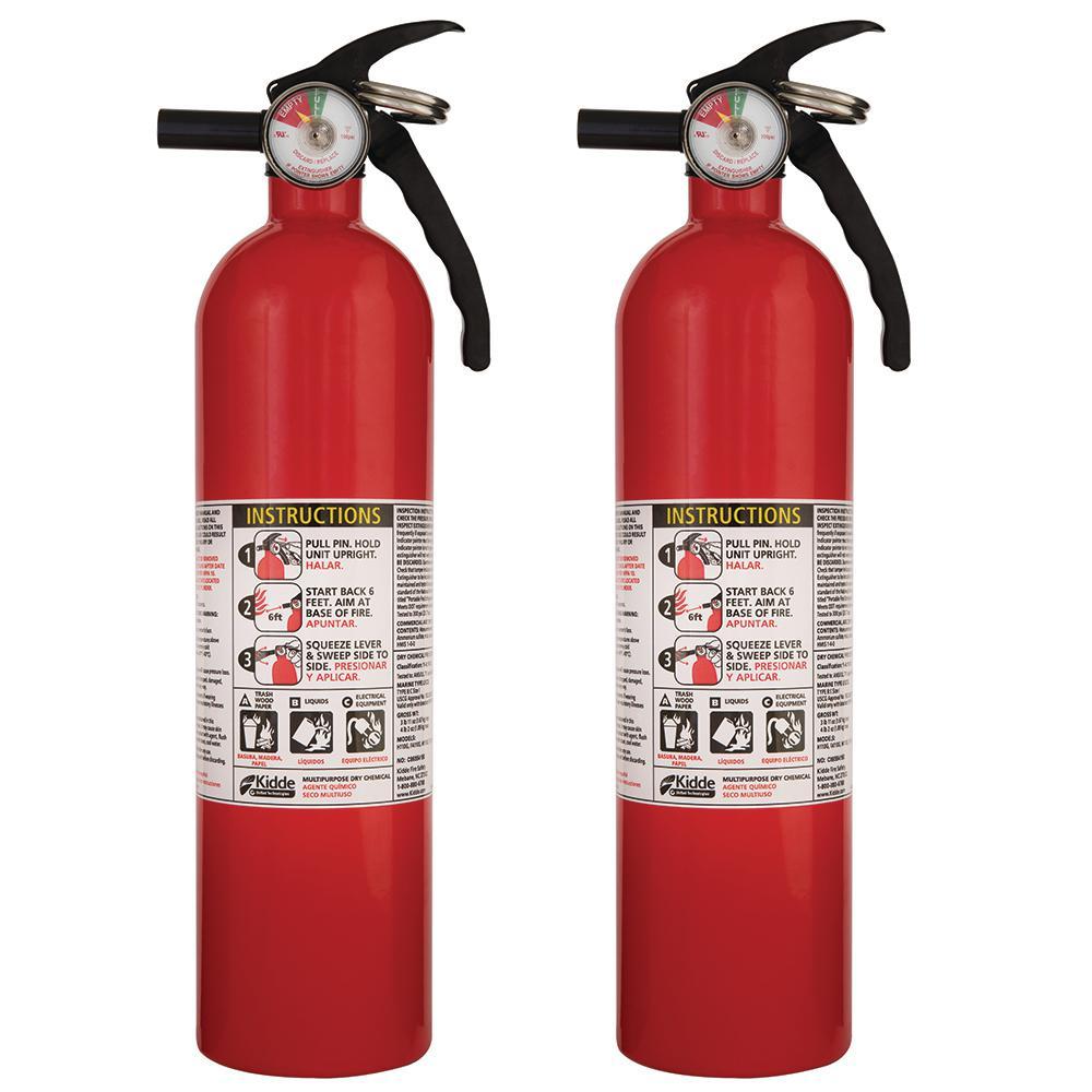 Kidde 1 A 10 B C Recreational Fire Extinguisher 2 Pack 21027416mtl Fire Extinguisher Extinguisher Kidde Fire Extinguisher