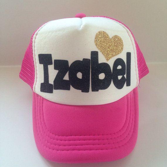 3198497f83376 Kids Trucker Hat Custom name hat glitter girls personalized hat with  glitter heart hipster kids surfer hat baseball hat girls birthday hat