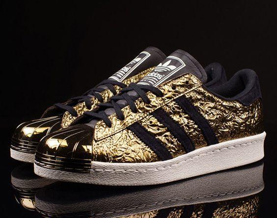 fb1fb0a644d03 Délicat Adidas Superstar Homme Metal Toe Gold, Noir Dégagement ...