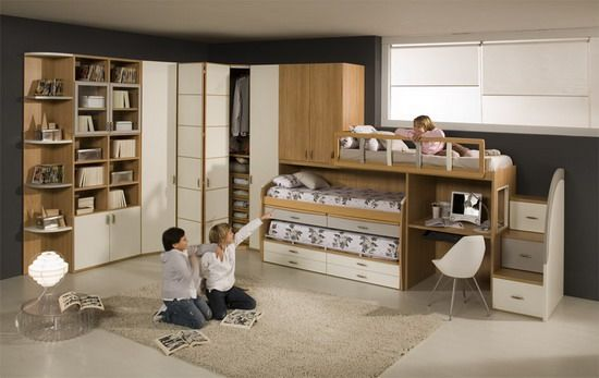 Wood Bunk Beds and Wall Storage for Kids Bedroom