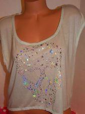 Victoria's Secret PINK lace back silver foil stars skull sparkle crop t-shirt M