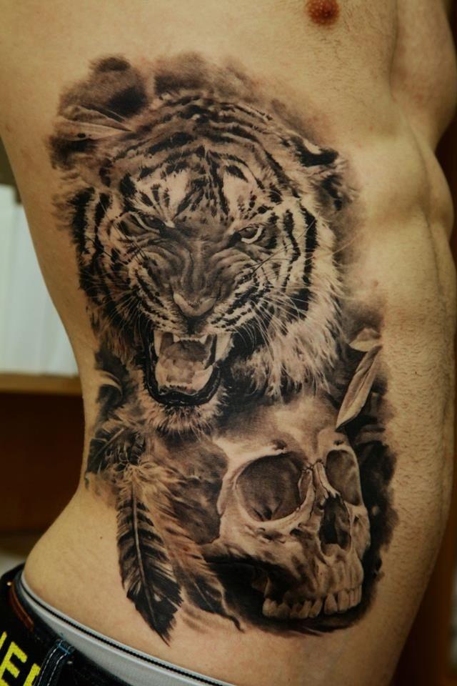 537b6a2a5e12e Black and Gray Realistic Tiger and Skull Tattoo - Dmitriy Samohin | Ink  Chill http: