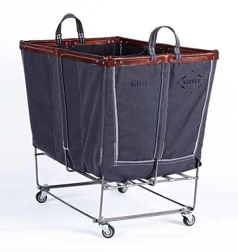 6 Bushel Canvas 3 Section Laundry Bin Gray Canvas With Brown Leather Trim E0789 Laundry Bin Laundry Steele
