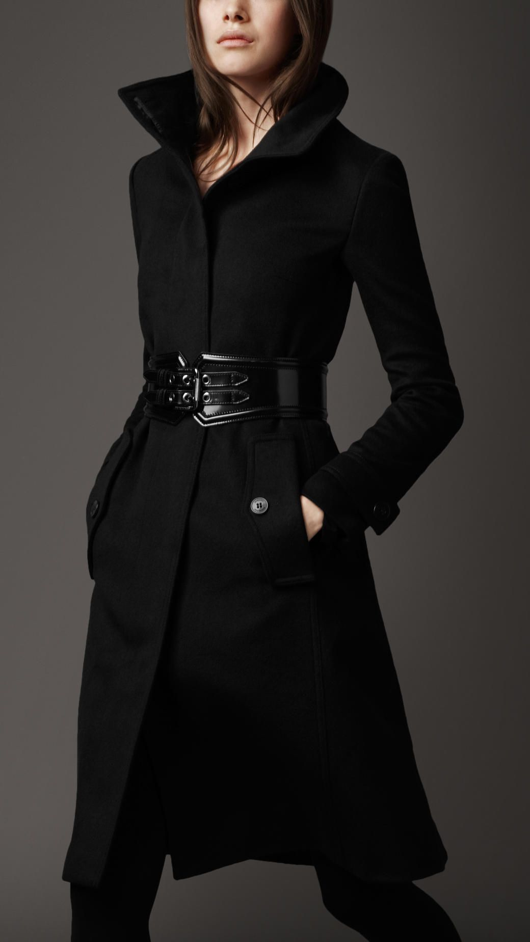 Women's Black Long Cashmere Blend Coat | Cashmere