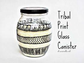 'A Casarella: DIY Tribal Print Glass Canister