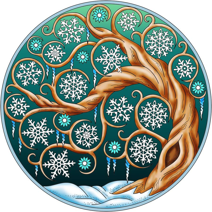 From the coloring book 50 wintertime mandalas an