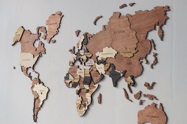 Wall Decor Wooden Map Arte De Mapa Mural Arte Mapamundi Decoracion De Mapa Mural