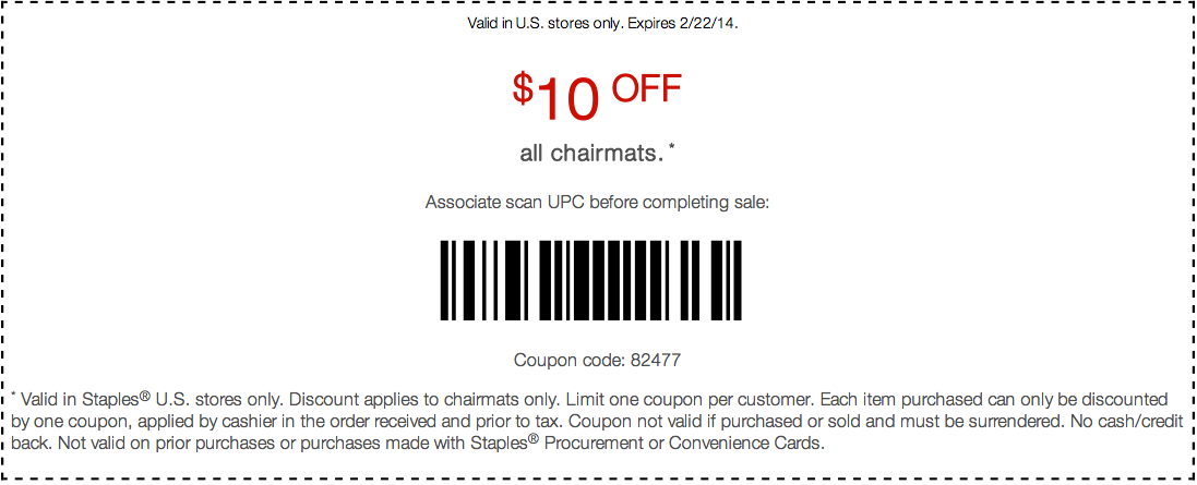 Staples 10 Off Chairmats Printable Coupon Printable Coupons Coupons Couponing For Beginners