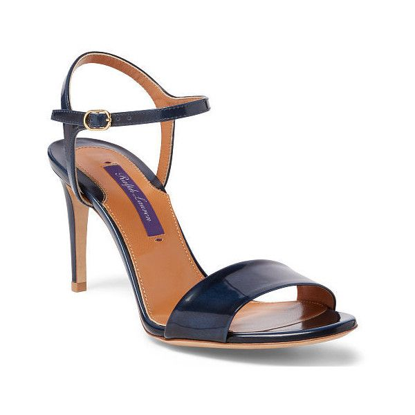 Ralph Lauren Astera Brushed Calfskin Sandal ($595) ❤ liked on Polyvore featuring shoes, sandals, ralph lauren, ralph lauren shoes, buckle shoes, open toe high heel shoes and open toe shoes