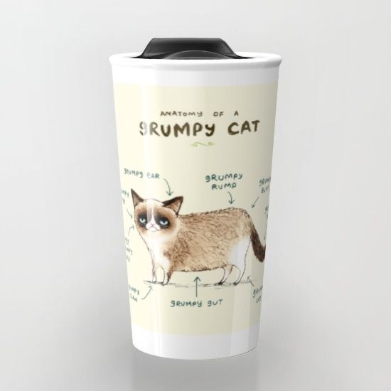 Anatomy Of A Grumpy Kitty Travel Mug Grumpy Kitty Anatomy And Kitten