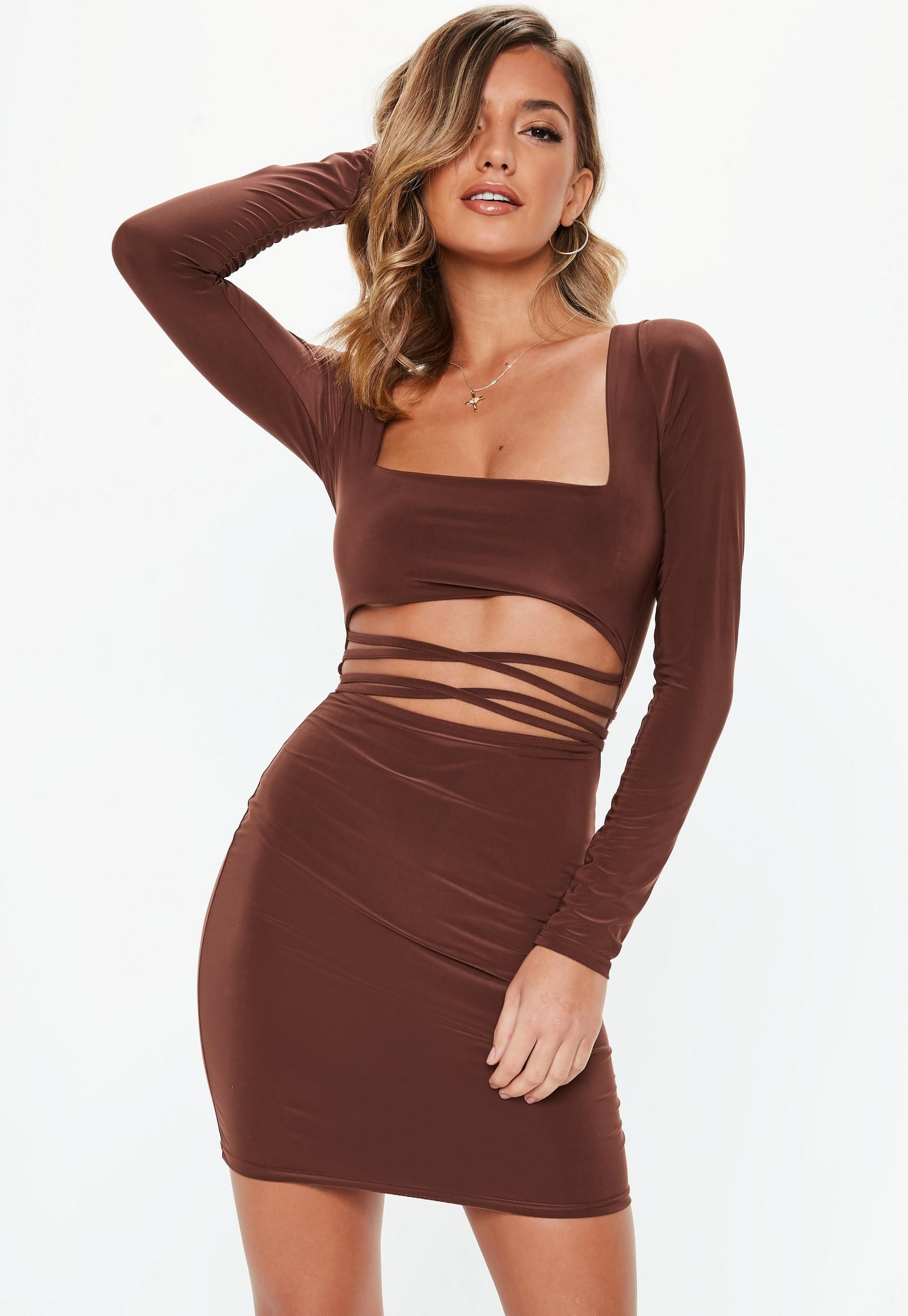 e540acfb7 Missguided Chocolate Slinky Cut Out Bodycon Mini Dress   night life ...