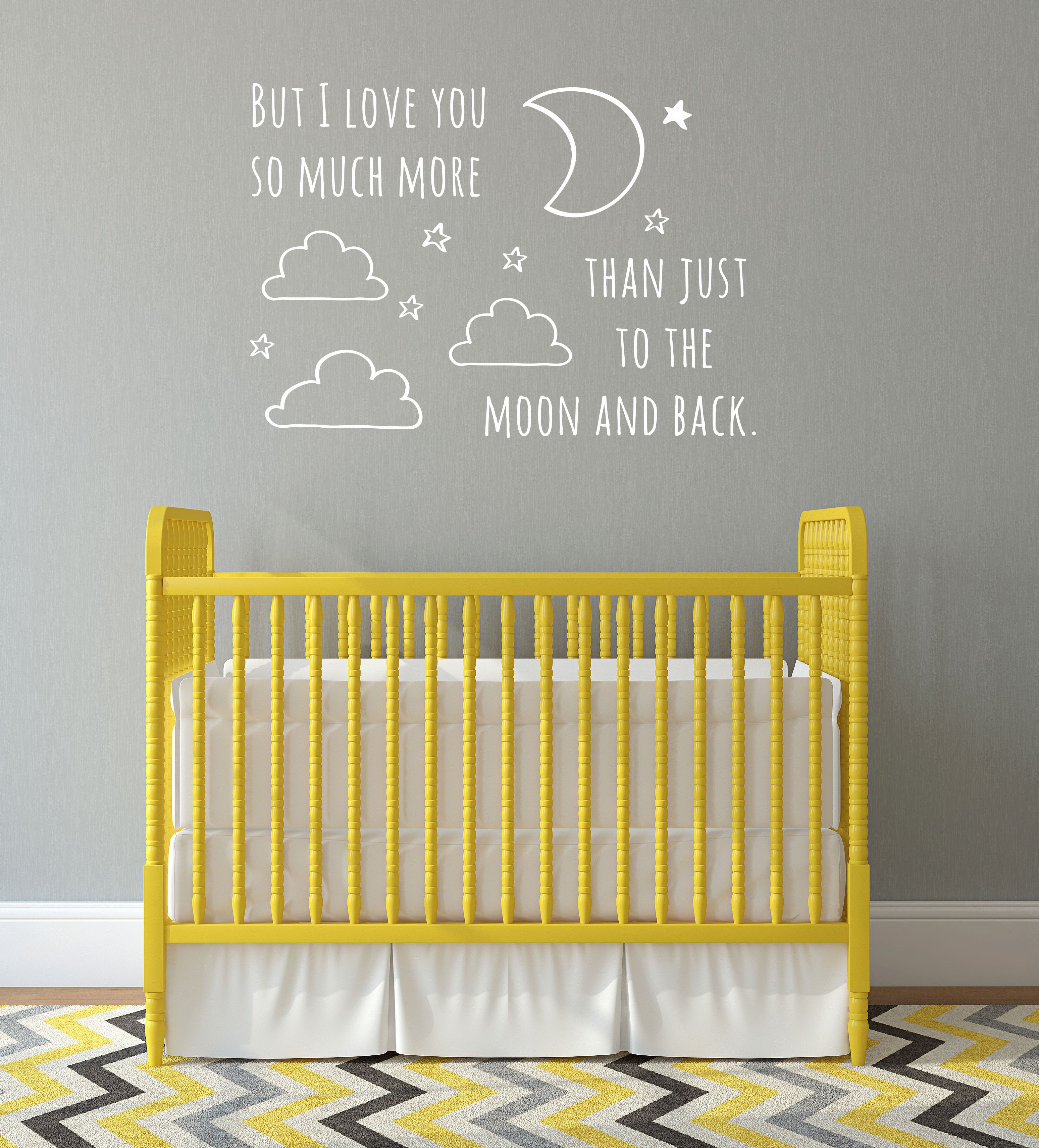 Moon And Back Doodle Quote - Wall Decal Custom Vinyl Art Stickers ...