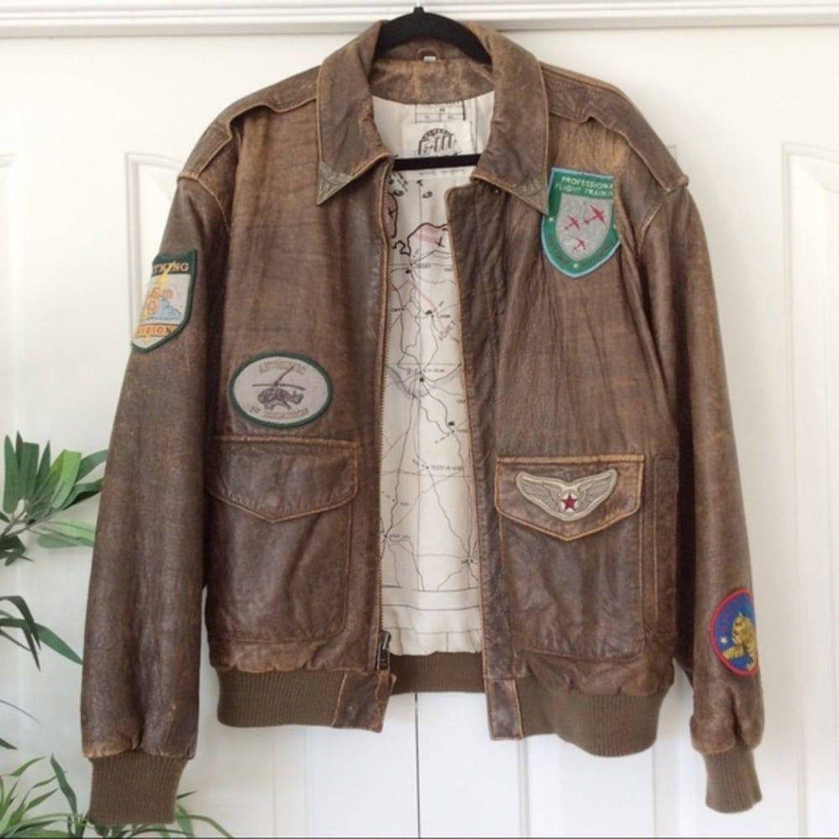 Vintage S Brown Leather Bomber Jacket in 2020 Brown
