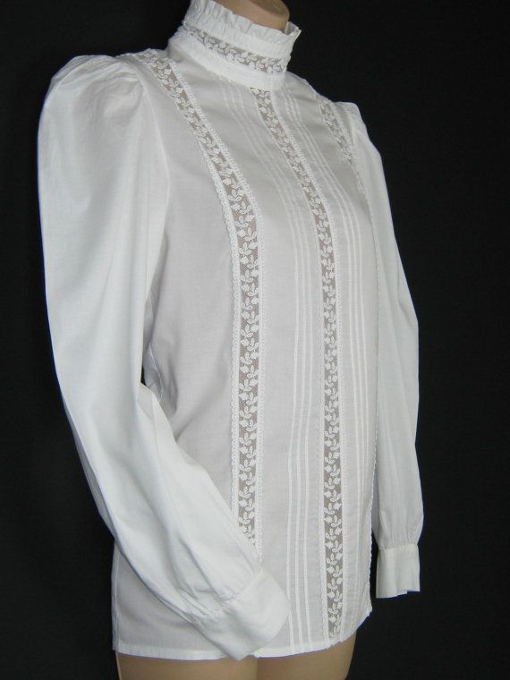 be6302740e0 LAURA ASHLEY Vintage Victorian Edwardian Style High Ruffle Neck Cotton   Lace  Blouse