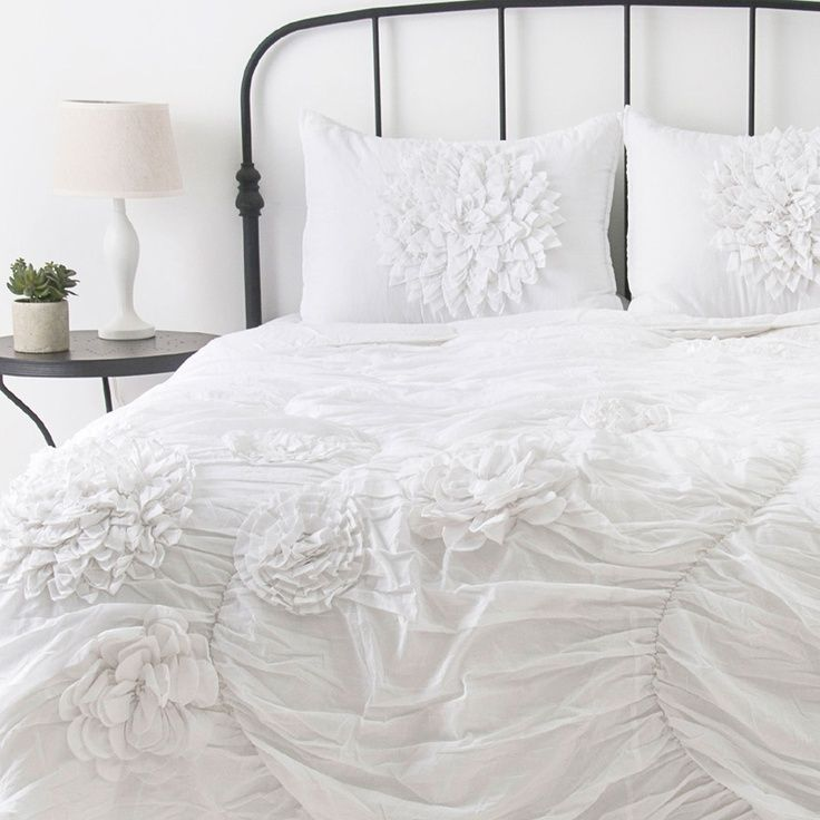 Ruched flower comforter district 17 home inspiration pinterest love a cozy white comforter i could just crawl right in mightylinksfo