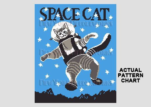 Space Cat Cross Stitch Cat Cross Stitch by NewYorkNeedleworks, $8.50 | Retro Cross Stitch