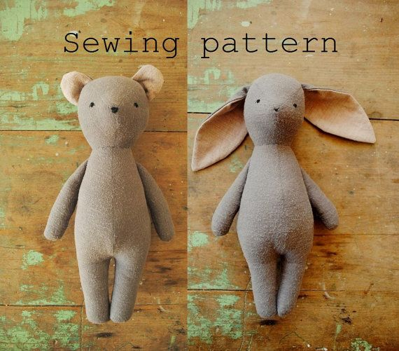 Bunny rabbit and bear stuffed animal doll sewing pattern / soft toy ...
