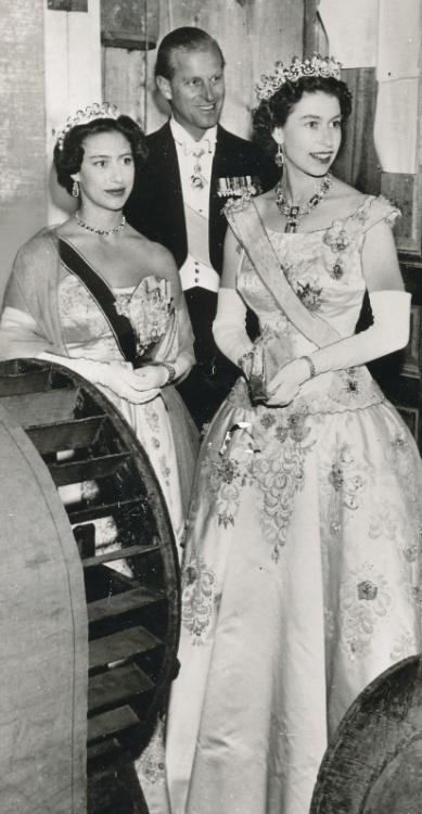 Queen Elizabeth, Princess Margaret and Prince Philip