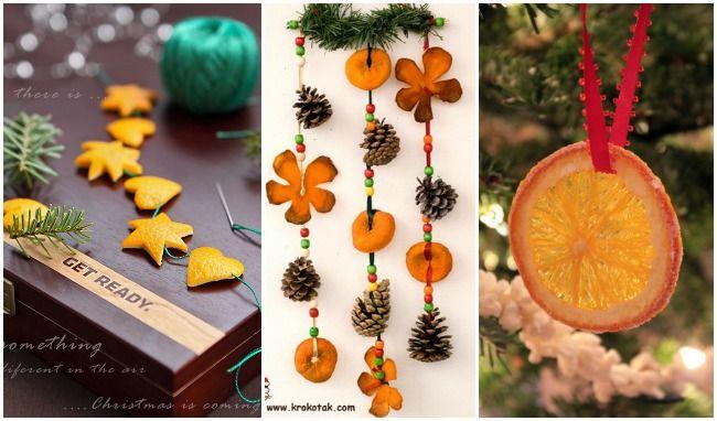 decoración navideña con pieles de naranjas