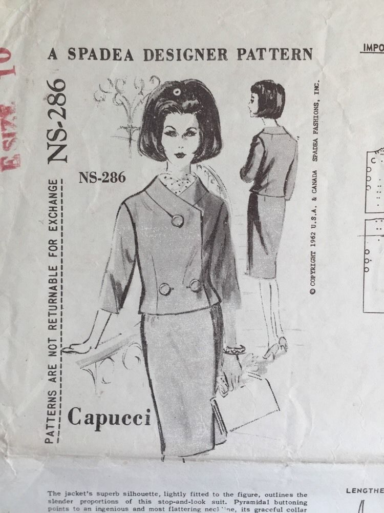 VTG Suit Jacket Skirt Spadea Sewing Pattern Capucci NS-286 Size 10 FF 1962