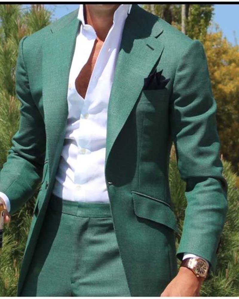Men Green Suit Groomsmen Double Breasted Wedding Party Dinner Suit Coat+Pant
