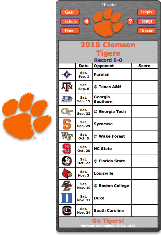 Get your 2018 Clemson Tigers Football Schedule Dashboard