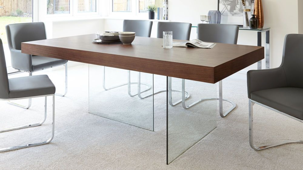 Modern Dark Wood Dining Table Gl Legs Seats 6 To 8