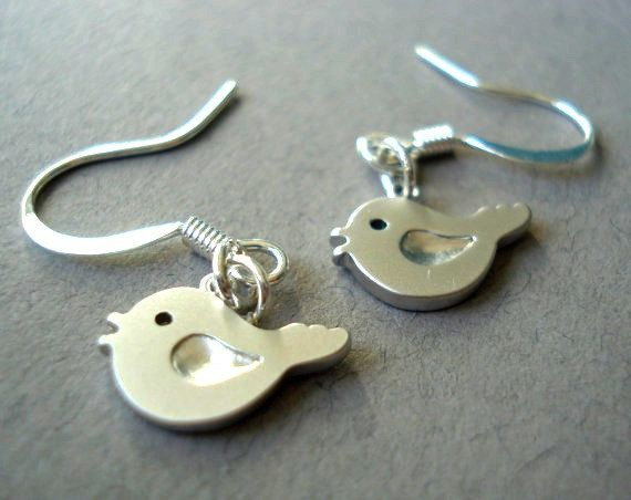 Tiny Bird Earrings in Sterling Silver by MDsparks on Etsy