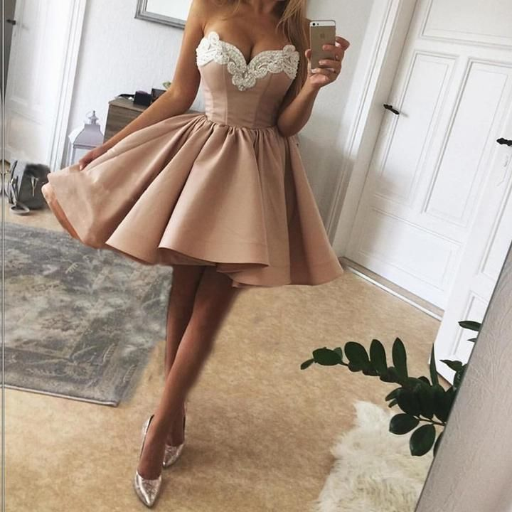 Pearls Embroidery Sweetheart Nude Pink Satin Homecoming Dresses 2018 ...