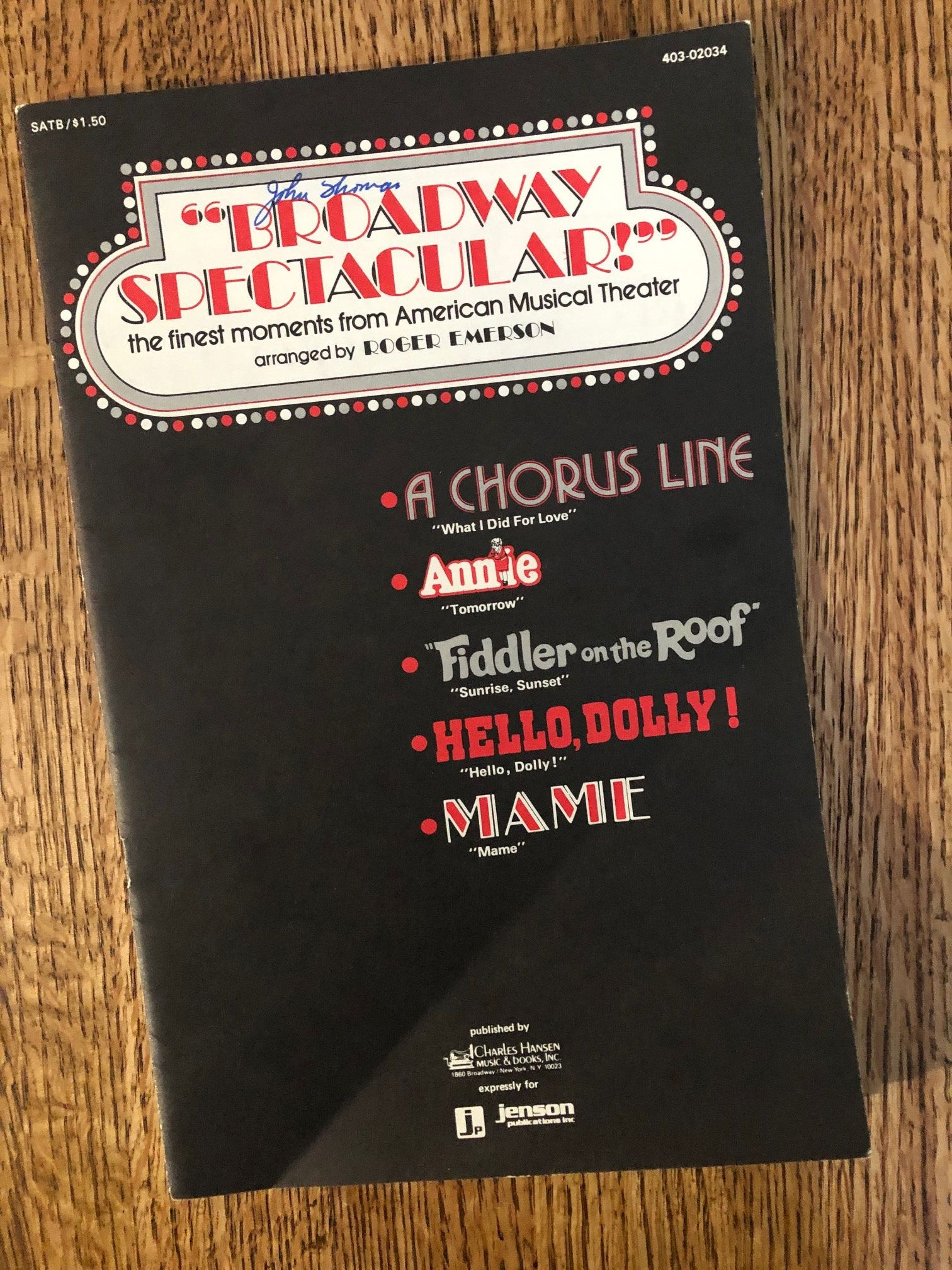 Vintage Song Book Broadway Spectacular