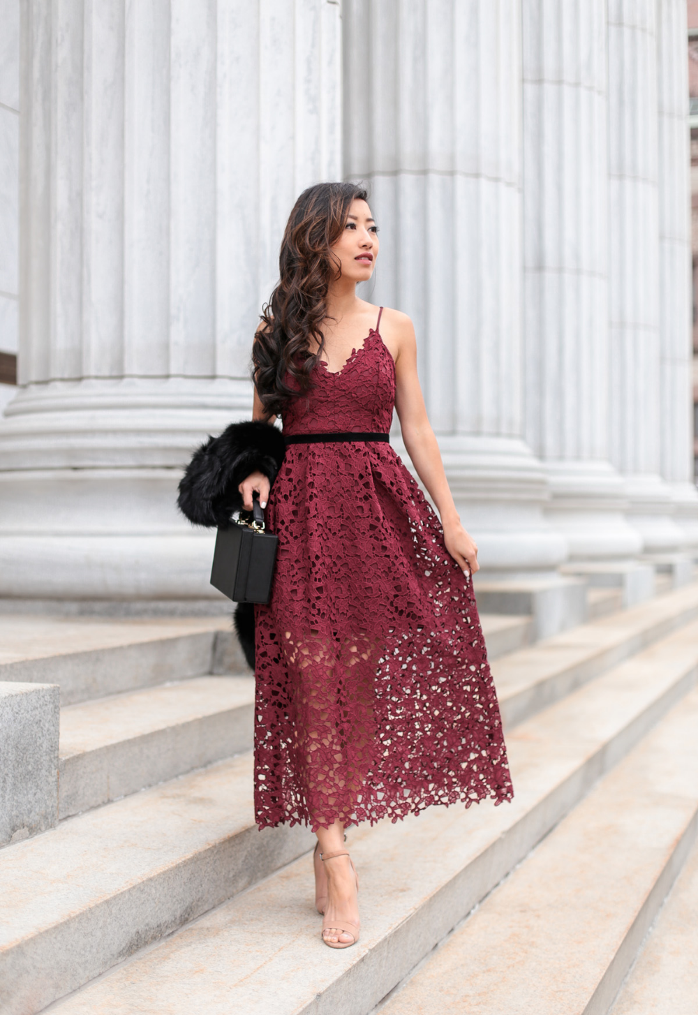 Holiday Lace Dress Faux Fur Scarf Holiday Lace Dress Wedding Guest Dress Dresses [ 1454 x 1000 Pixel ]