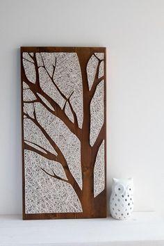 Tree string art silhouette modern minimalist wall