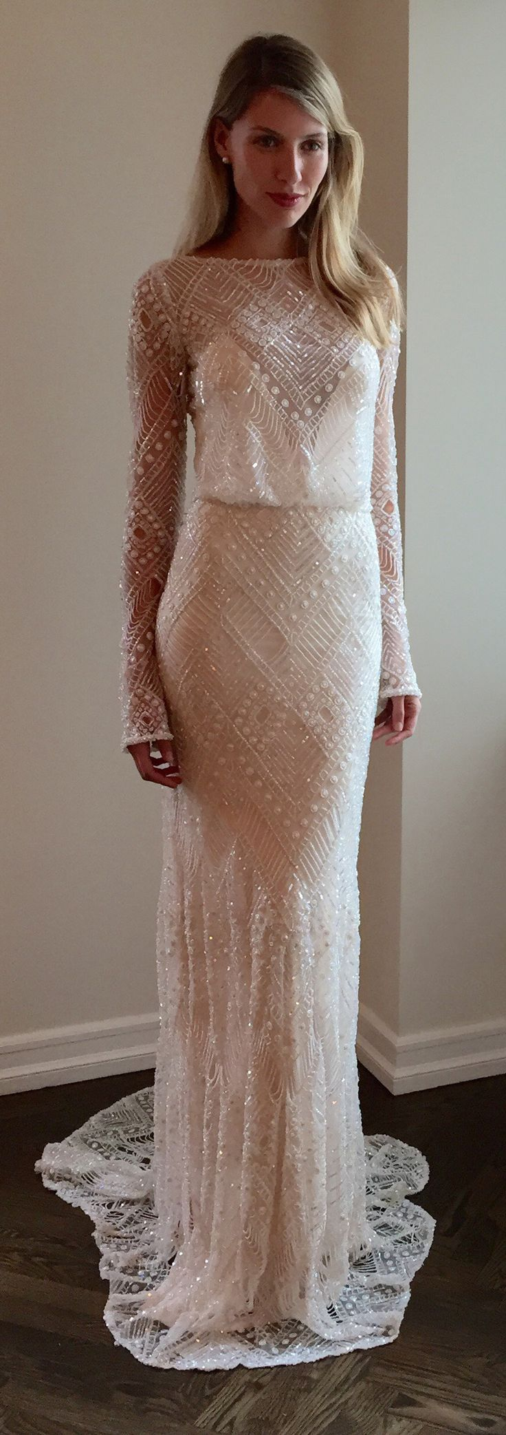 relaxed fit beaded wedding gown | Sleek Wedding Dresses | Pinterest ...