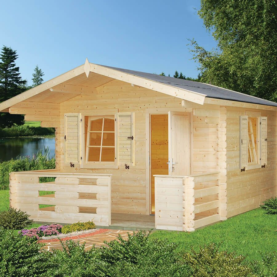 Whole Wood 112 Sq.Ft Do-It-Yourself Prefab. Log Cabin Kit