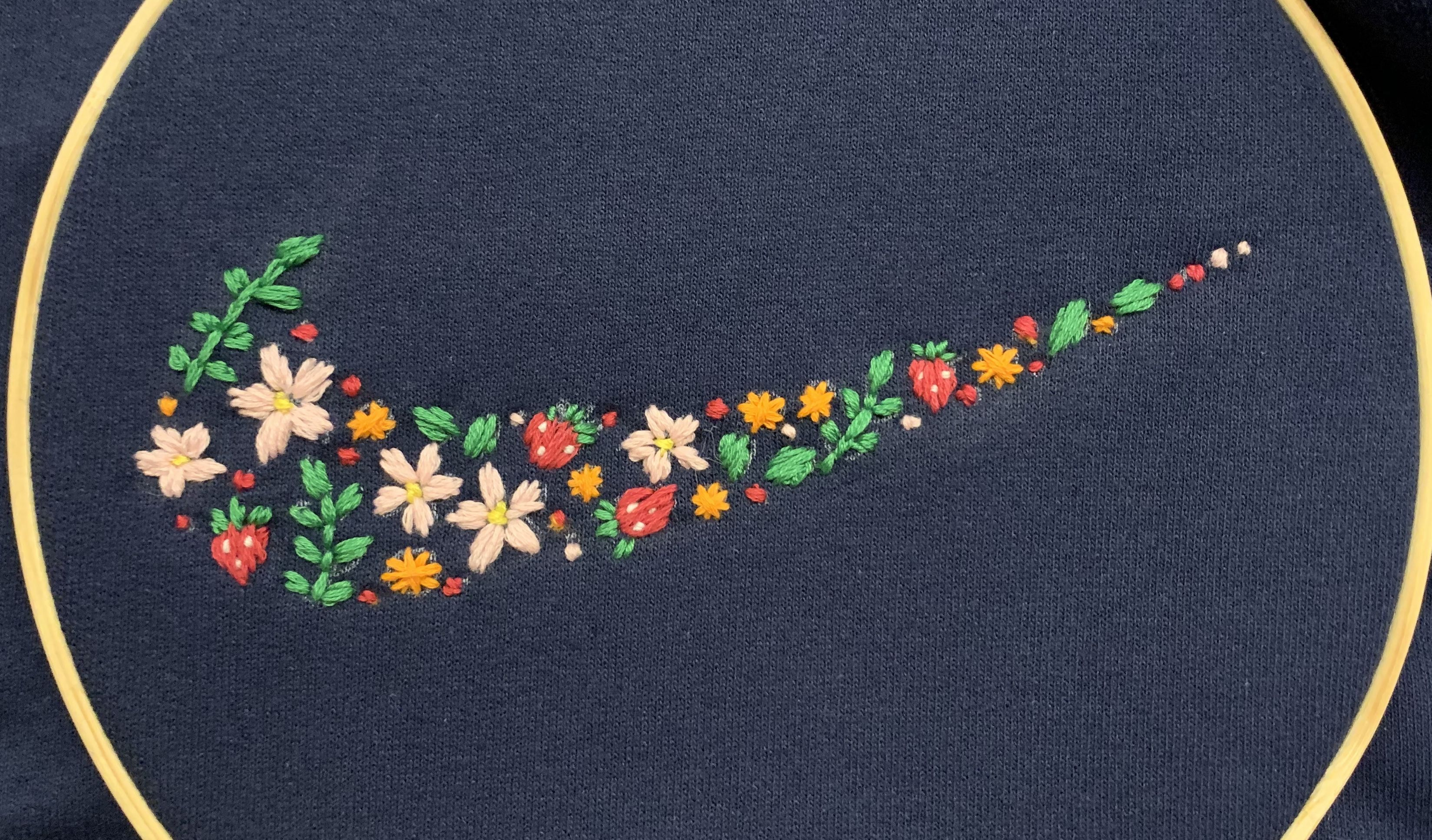 Floral Nike Symbol Sweatshirt In 2020 Clothes Embroidery Diy Flower Embroidery Designs Sewing Embroidery Designs