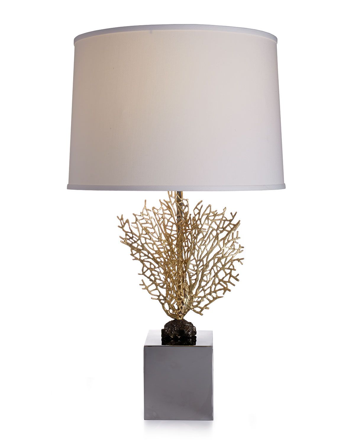 Beleuchtung ideen zu hause fan coral table lamp stainless  michael aram  the art of living