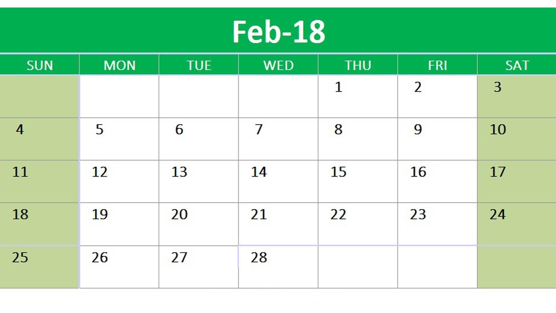 February 2018 Google Sheet Calendar | Template printable ...