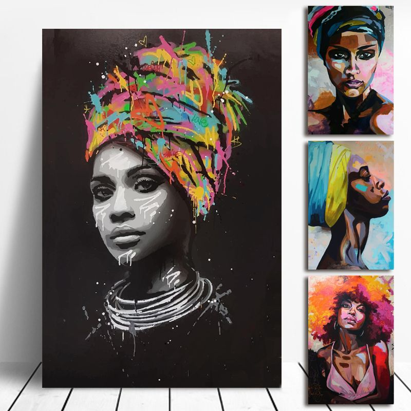 Afro Art Africa Women Canvas Painting Wall Art Colorful Picture