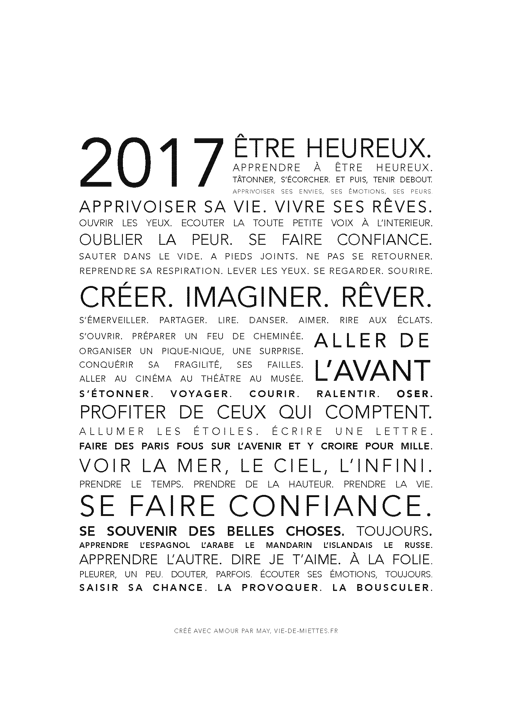 Carte de v ux 2017 imprimer vie de miettes carte de voeux et vie - Texte carte de voeux 2017 ...