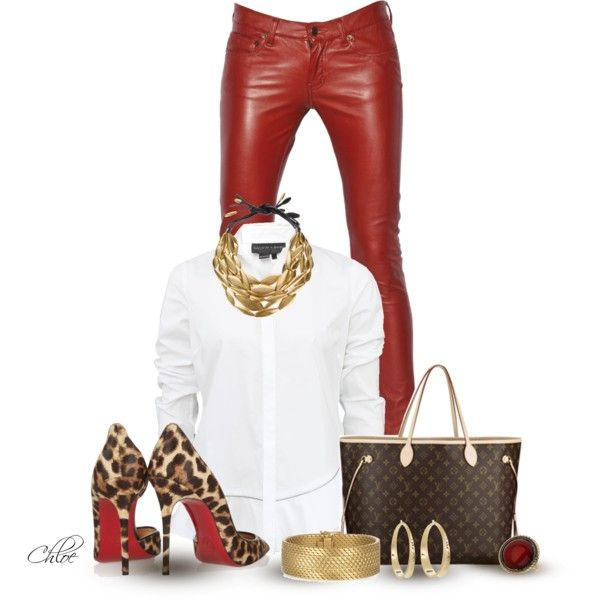 "~Red Hot~                                                                 #Louis Vuitton Handbag and Leopard shoes #Red Leather Pants                                                                                    ""Leopard Print and Red"" by chloe-813 on Polyvore"