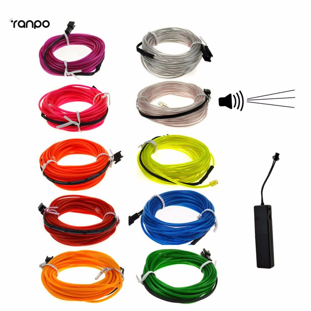 Light Green Red Yellow White LED Glow Neon 5M EL Wire Light String ...