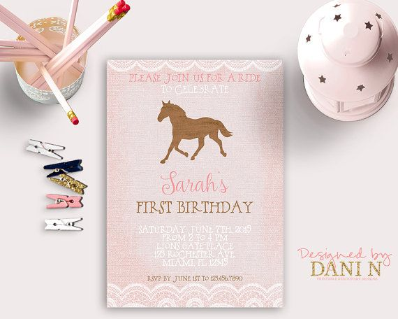 Horse Rustic Birthday Invitation Pink Burlap By DesignedbyDaniN