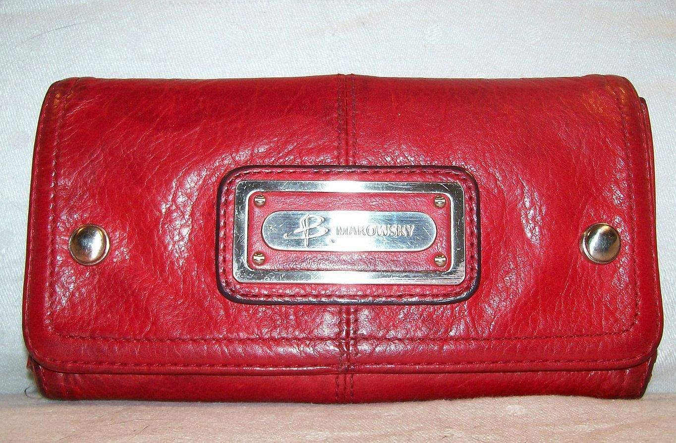 B makowsky wallet womens preowned red leather clutch