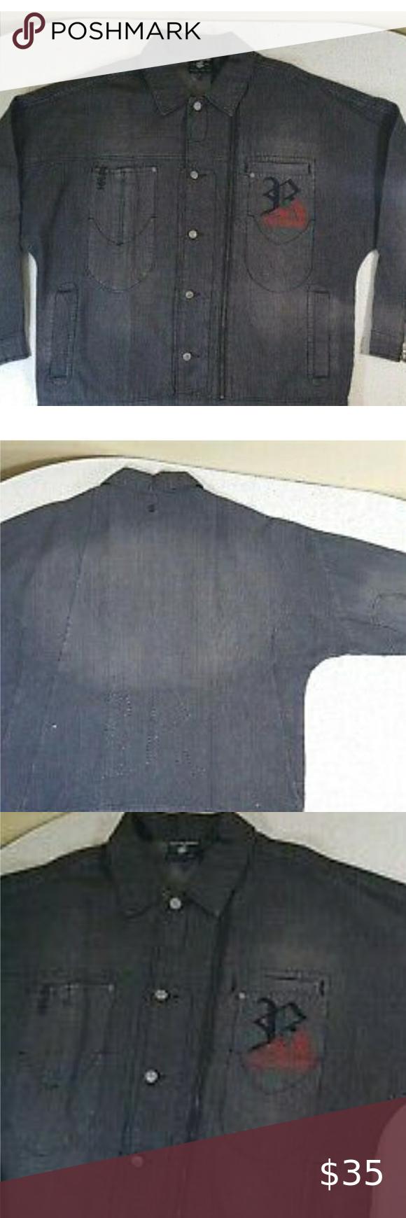 Rocawear Trucker Denim Jacket Extra Large Item Description Rocawear Mens Trucker Denim Jacket Size X Large Black Button Up Embro Denim Jacket Jackets Rocawear [ 1740 x 580 Pixel ]