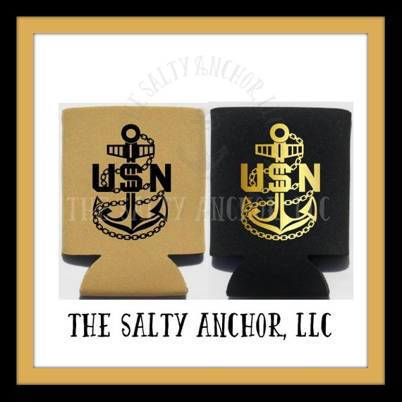 Navy Chief Petty Officer Fouled Anchor insulated coozie, can cooler