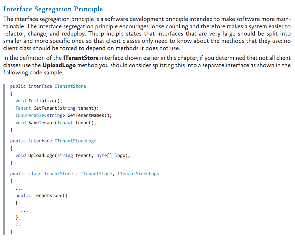 Interface Segregation Principle (from Dependency Injection