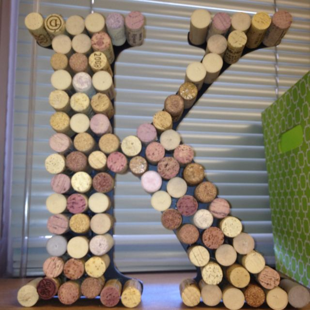 Cork initial sign, a friend made this for me. I love it and such a cute way to use left over corks. I better start drinking more wine ;)