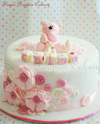 One Month Old Celebration Teddy Bear Cakes Cupcake Cakes Cake