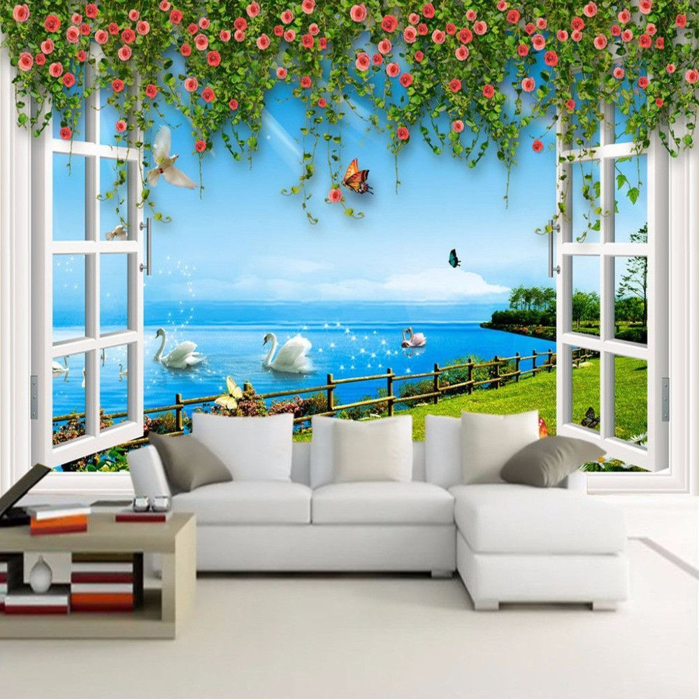 custom 3d photo wallpaper modern romantic non woven wall paper custom 3d photo wallpaper modern romantic non woven wall paper print window vines flower wall