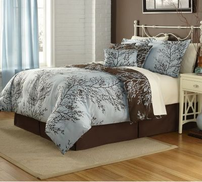 Modern Brown Blue FLORAL TREE BRANCHES 7pc Queen Size